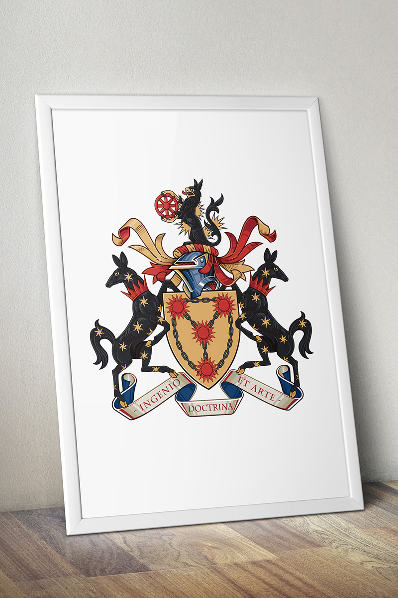 Illustration for the Royal college of arms and engineering council coat of arms vector digital artwork shield helmet griffin
