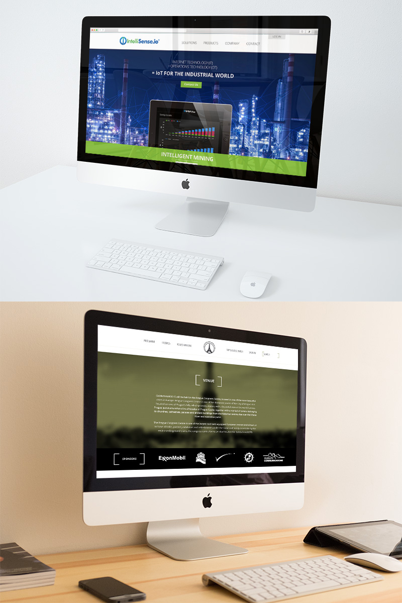 website design homepage on imacs for Cambridge companies