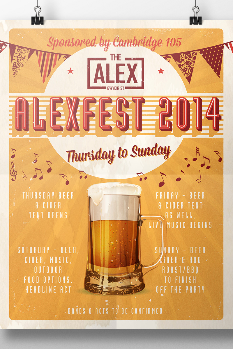 The Alex pub Cambridge posters designed for Alexfest aged distressed style