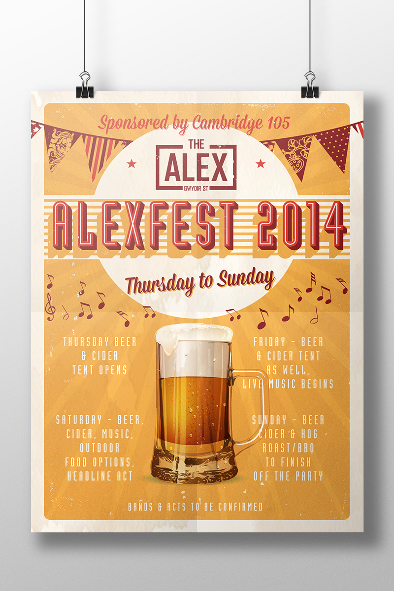 Posters - The Alex Pub Cambridge full poster design in an American retro aged distressed style
