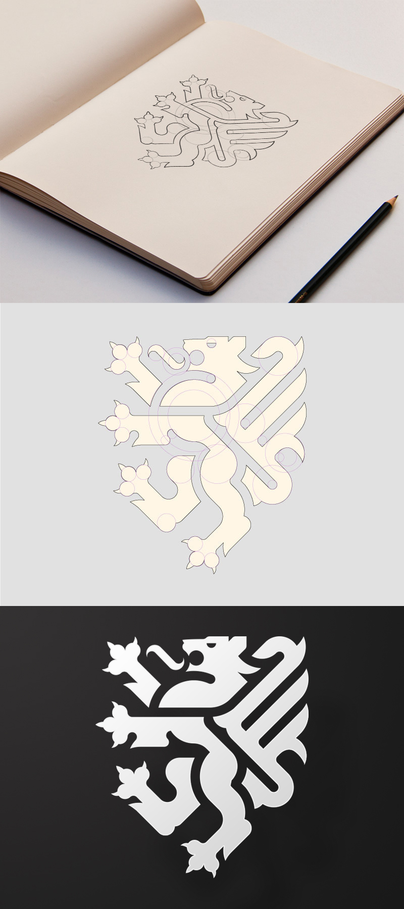 Logo design Cambridge vector heraldry minimal style